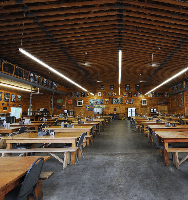 Inside Manitou's spacious dining hall
