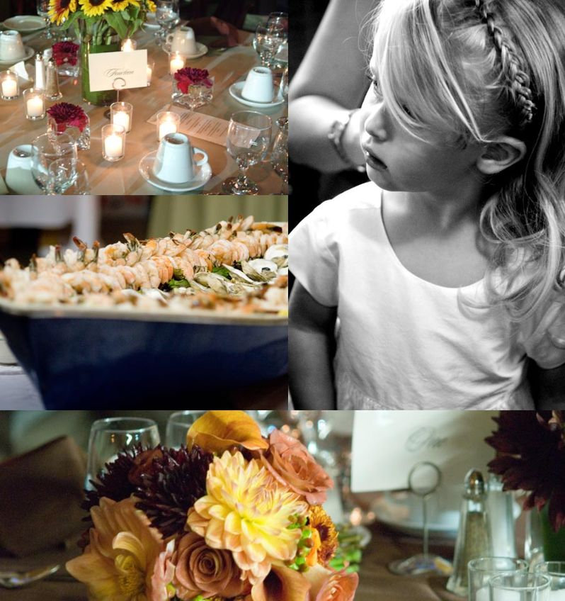 Fancy table settings, boiled shrimp, flowers, and the flower girl