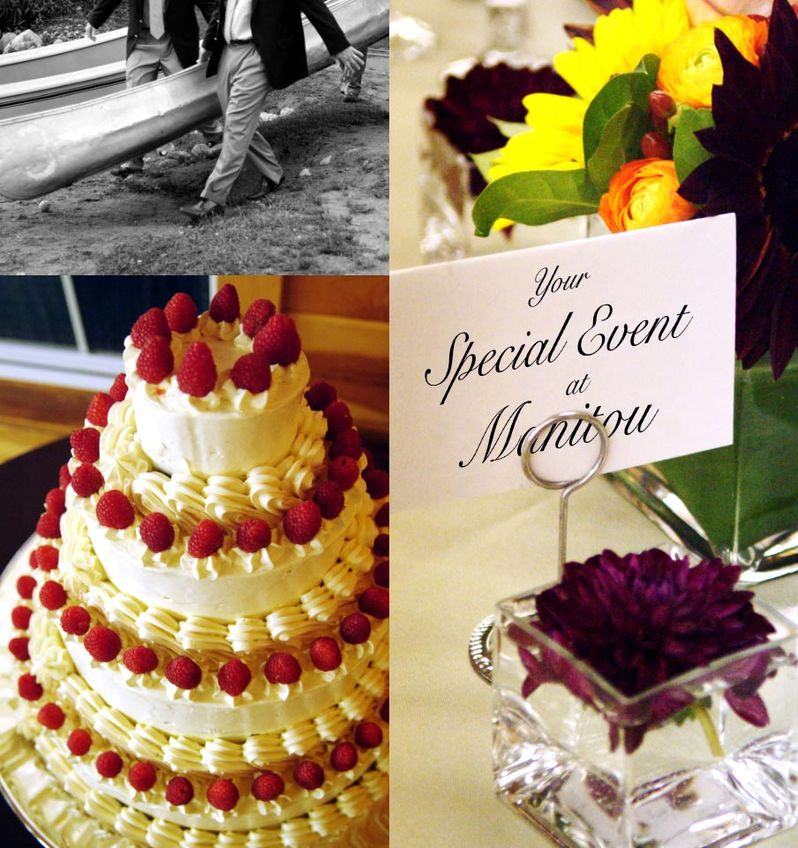 Groomsmen carrying a canoe, wedding cake, and a seating label