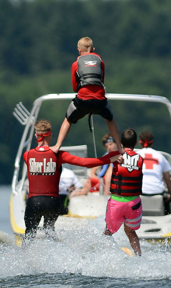 Displaying water ski skills on visiting day