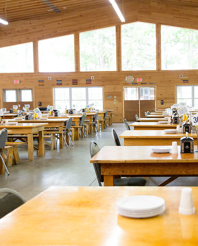 An exterior view of the Manitou dining hall