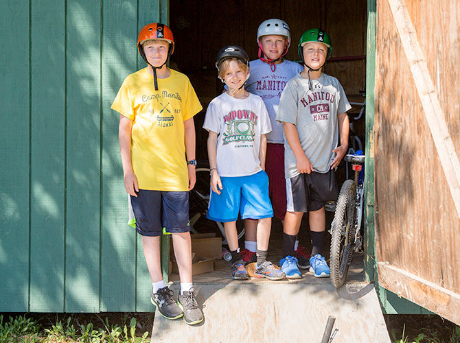Campers prepare to hit the trails on their bikes