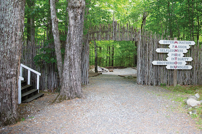 The gate leading to Manitou's main campfire ring